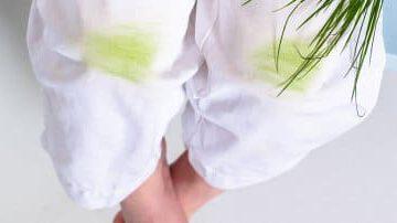 plamy z trawy na białym ubraniu